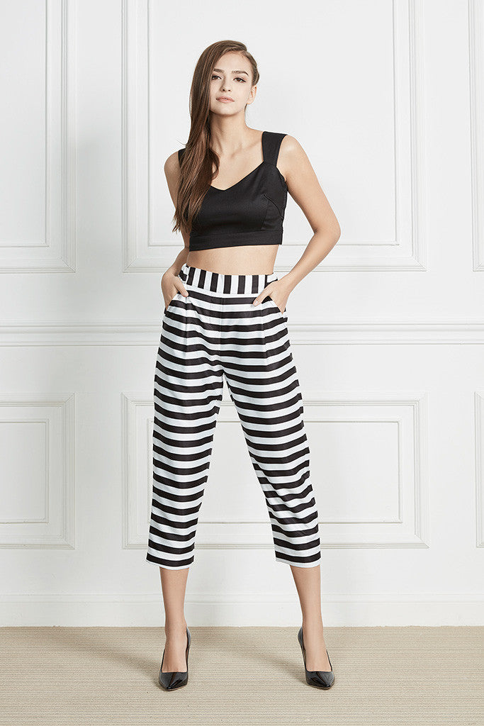 Causal striped crop pants