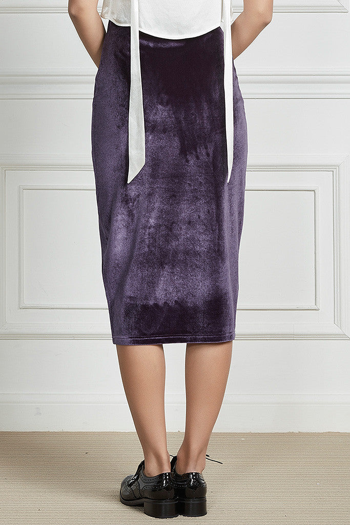 Purple velvet and stretch-cady pencil skirt