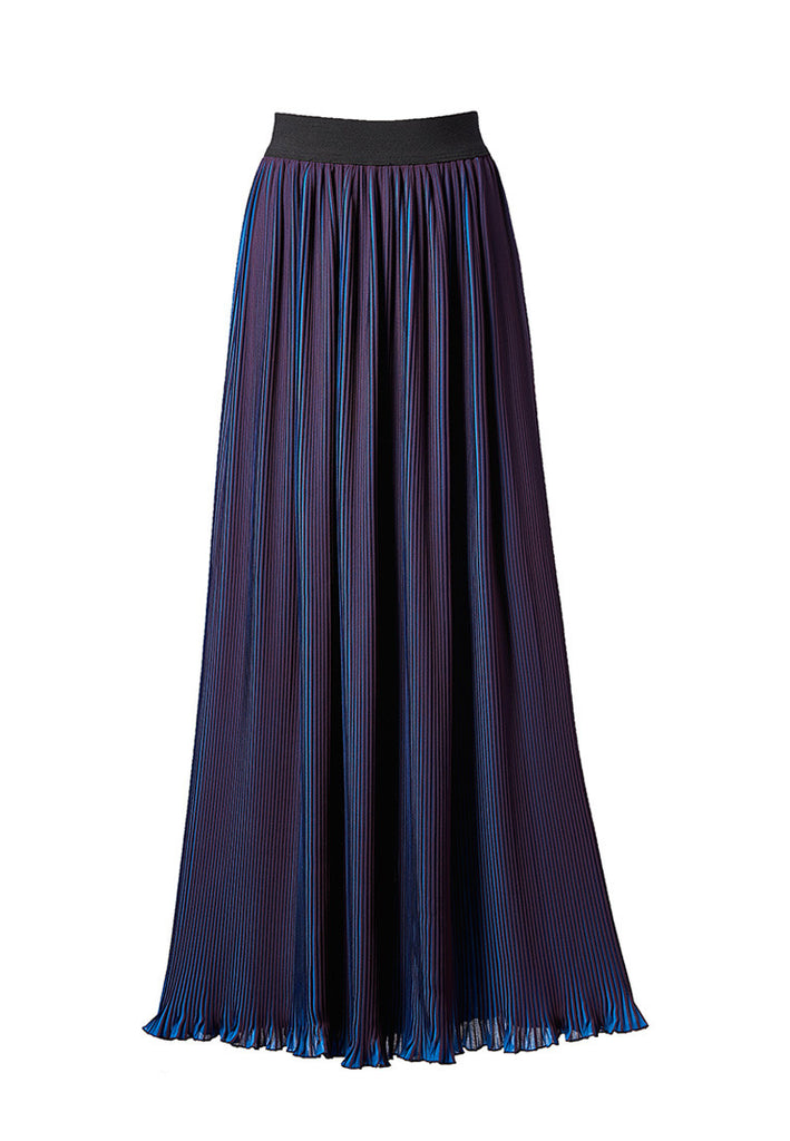 Royal purple-blue pleated stretch-cady maxi skirt
