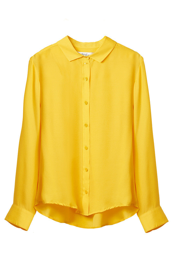 Yellow 100% Silk collar shirt