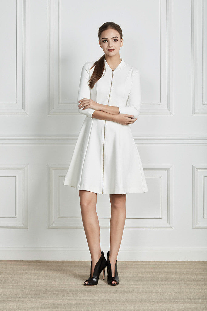 Stretch-cotton structured midi dress