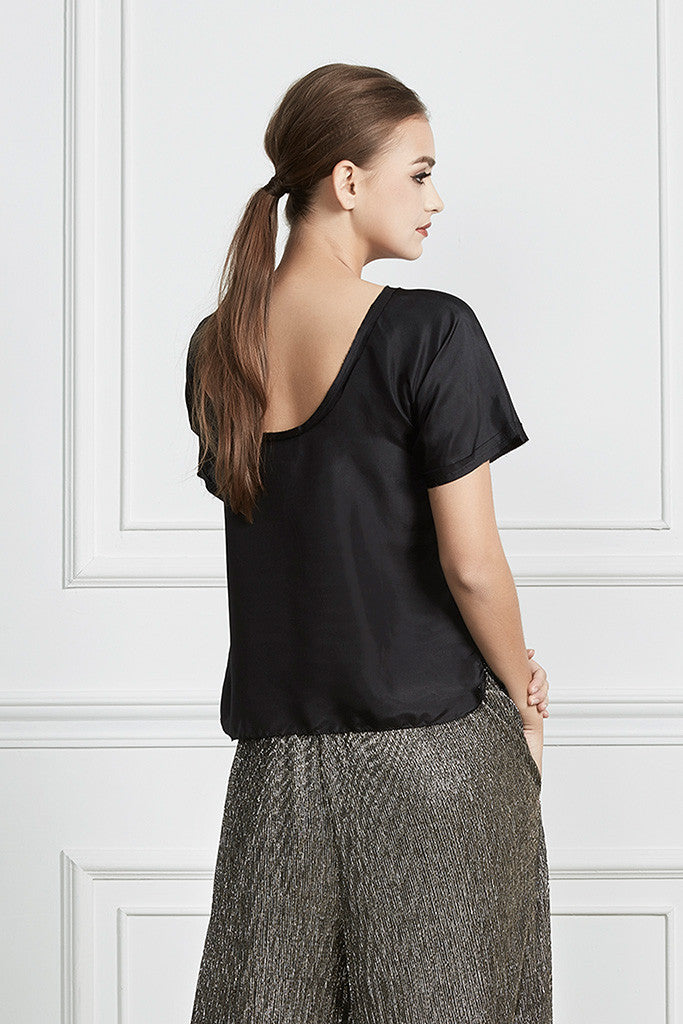 Black 100% Silk raw-edge short sleeves top