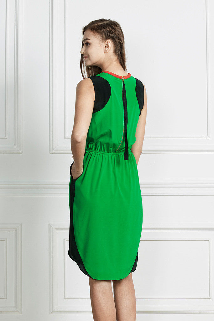Green 100% Silk summer flowing midi dress
