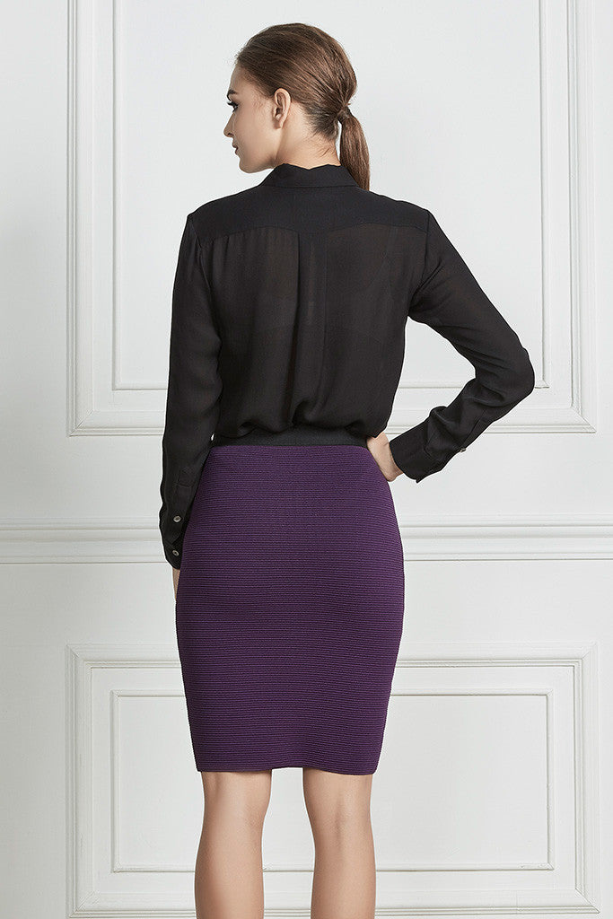Purple Ribbed-knit pencil skirt
