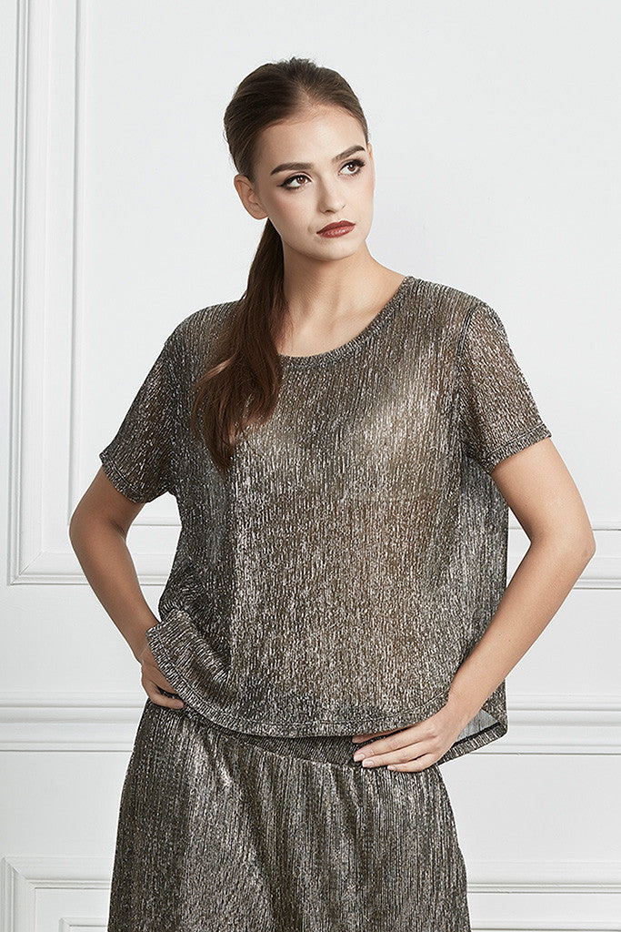 Metallic plissé-crepe loose-fit top