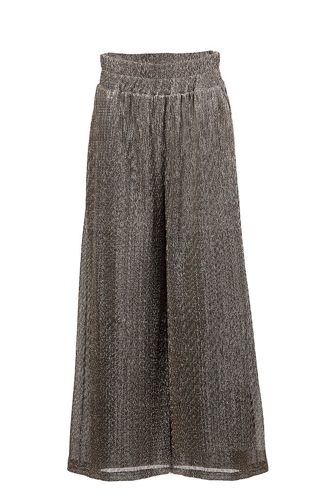 Metallic plissé-crepe wide-leg pants