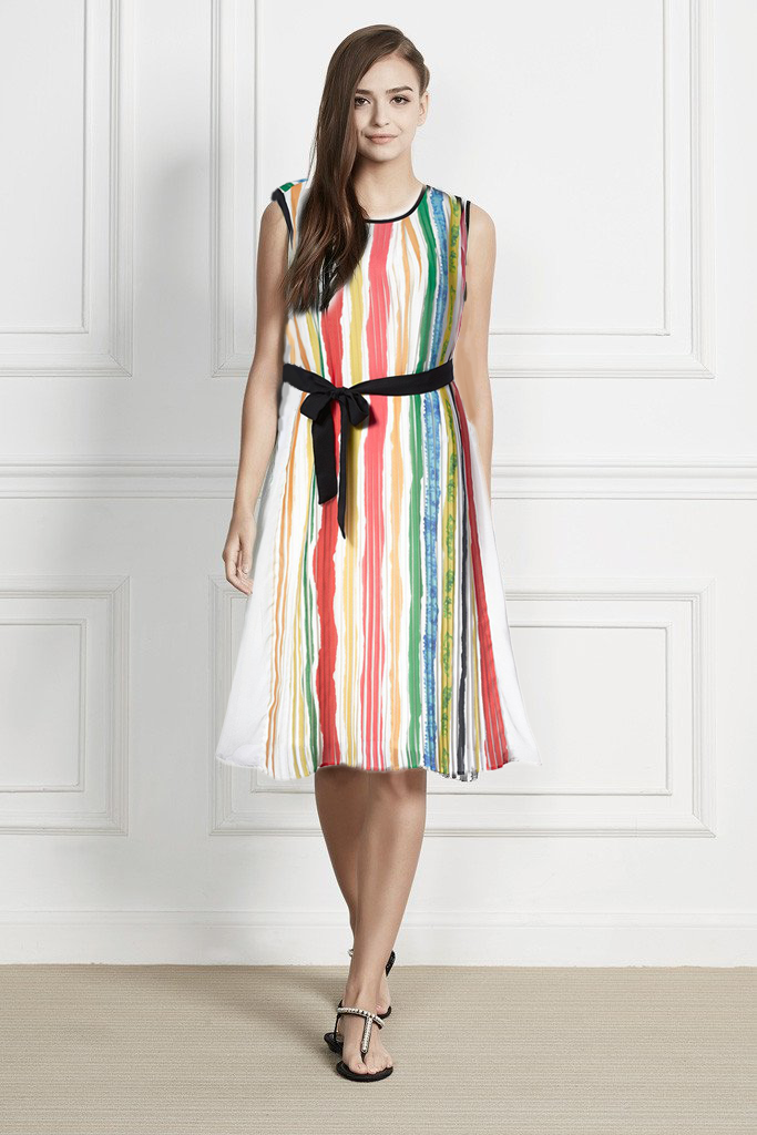 Print color pleated sleeveless midi dress with belt knotted