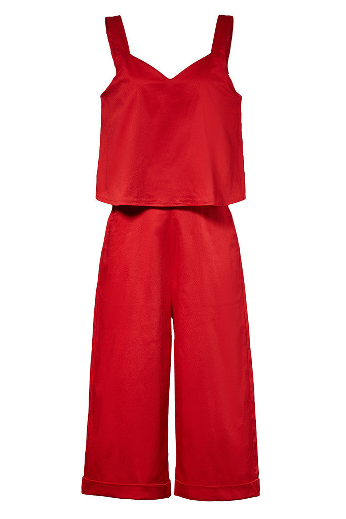 Red Cotton-satin loose fit cropped jumpsuit with pockets