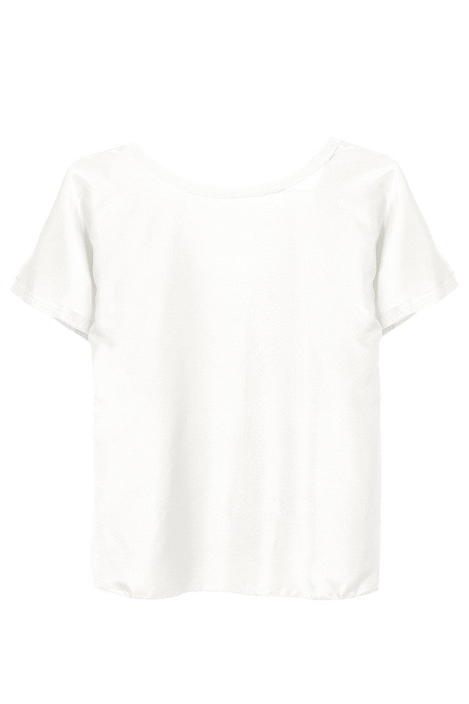 White 100% Silk raw-edge short sleeves top