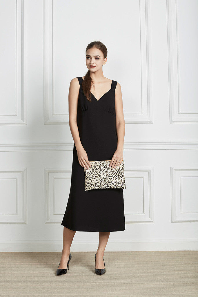 Leopard print clutch bag with zipper