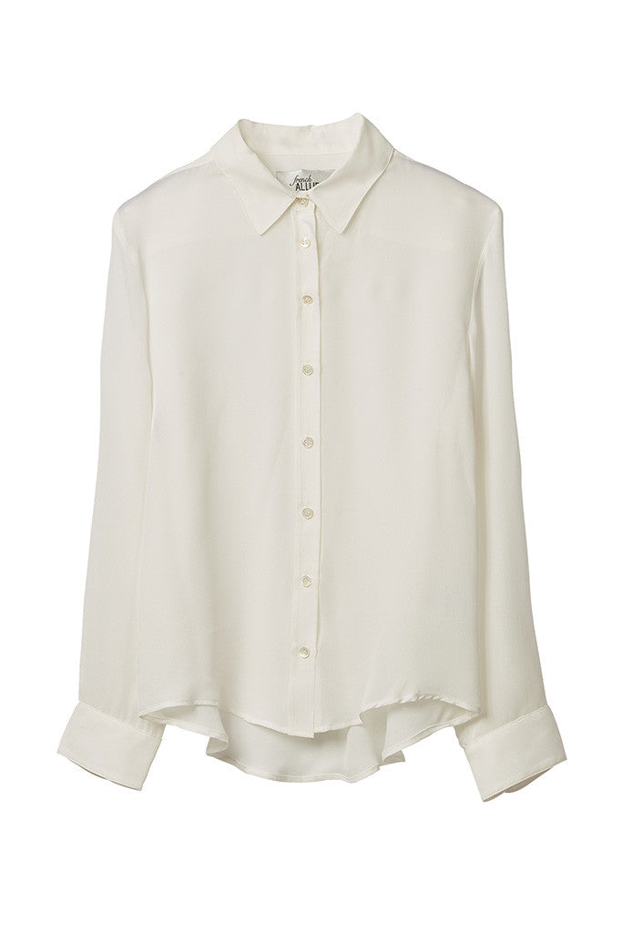 White 100% Silk collar shirt