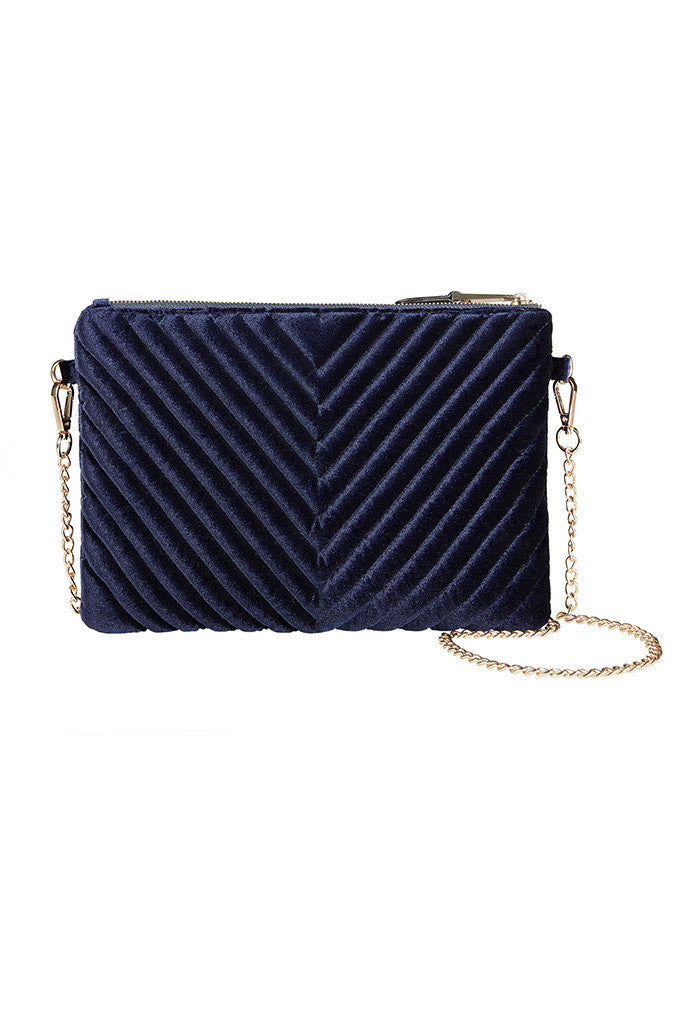 Blue Quilted Velvet shoulder bag with gold chain