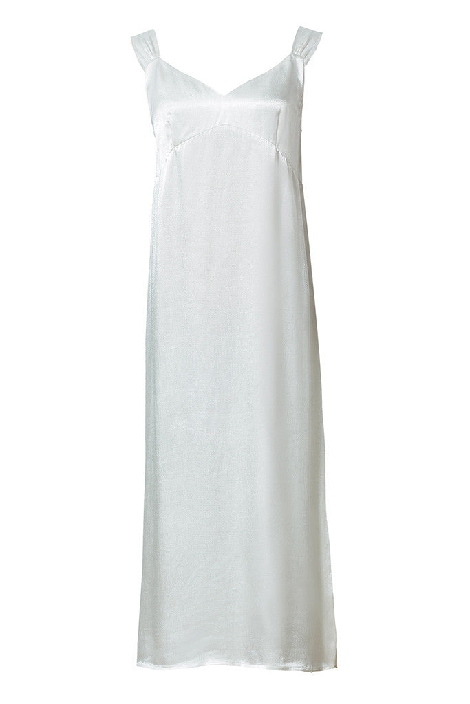 White Satin-crepe slip dress with tie-knot straps