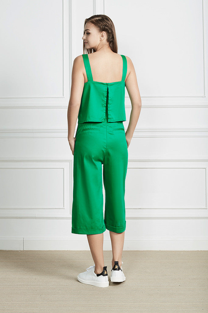 Green Cotton-satin loose fit cropped jumpsuit with pockets