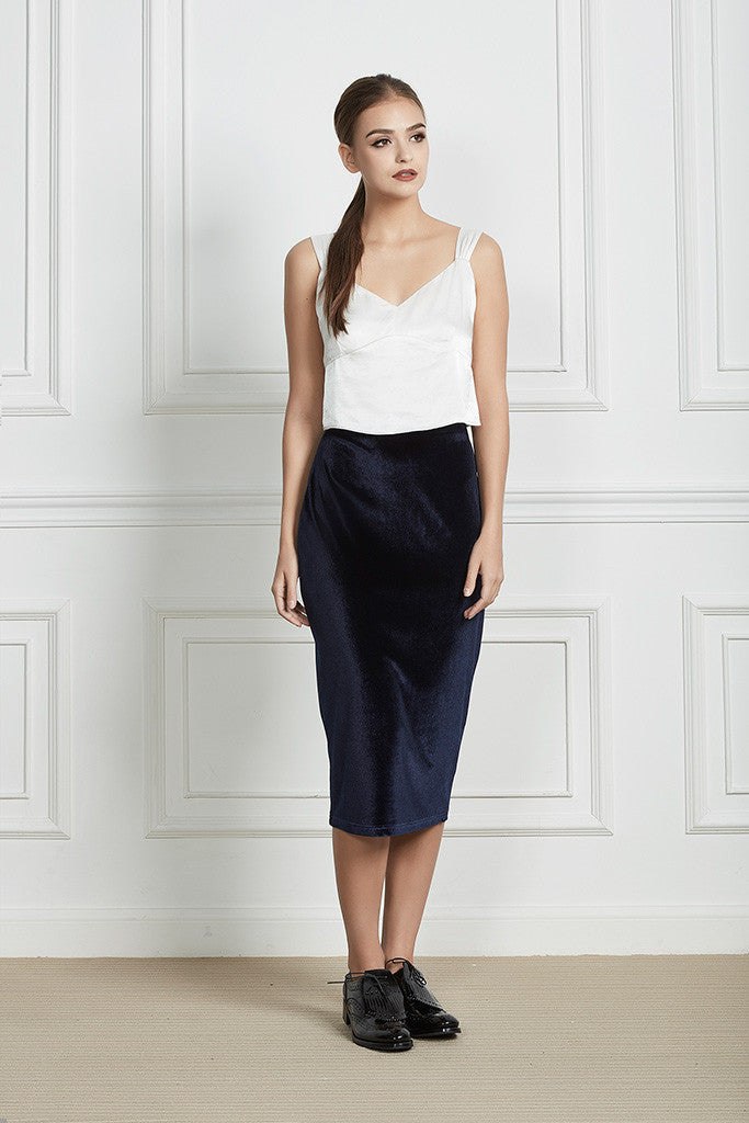 3898a8cfe1fa01 Navy Velvet and Stretch-cady Pencil Skirt - BRUNI | FRENCH ALLURE ...