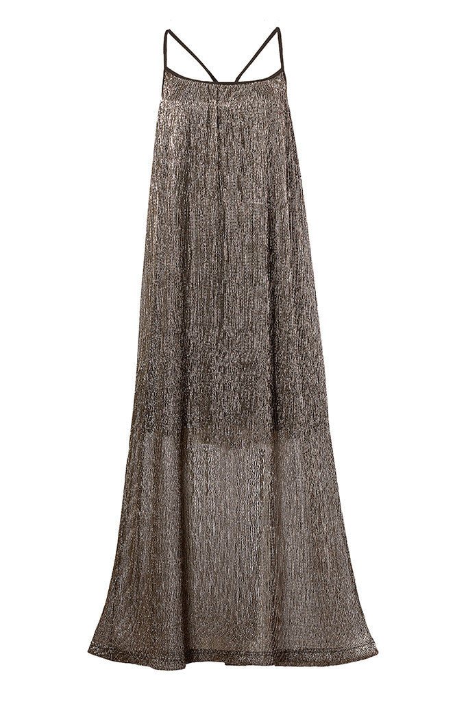 Metallic plissé-crepe maxi dress