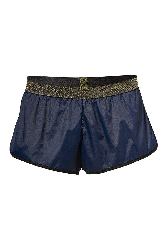 Gold-trimmed stretch-shell sporty shorts