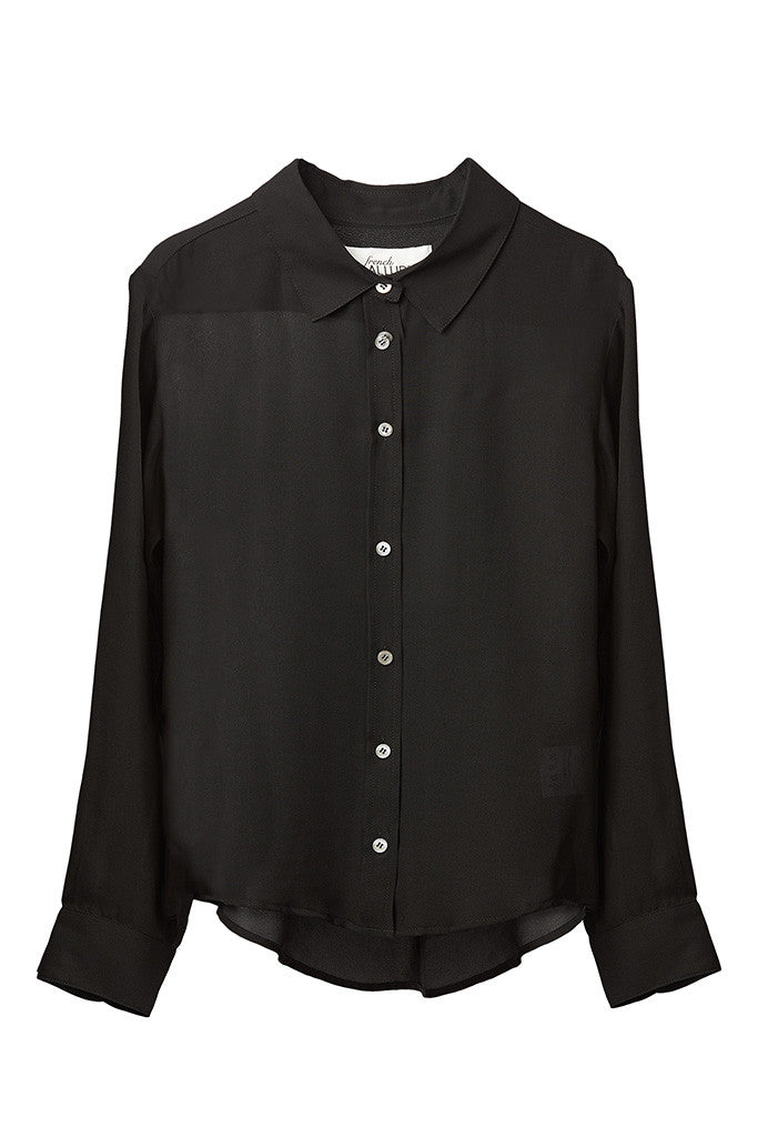 Black 100% Silk collar shirt