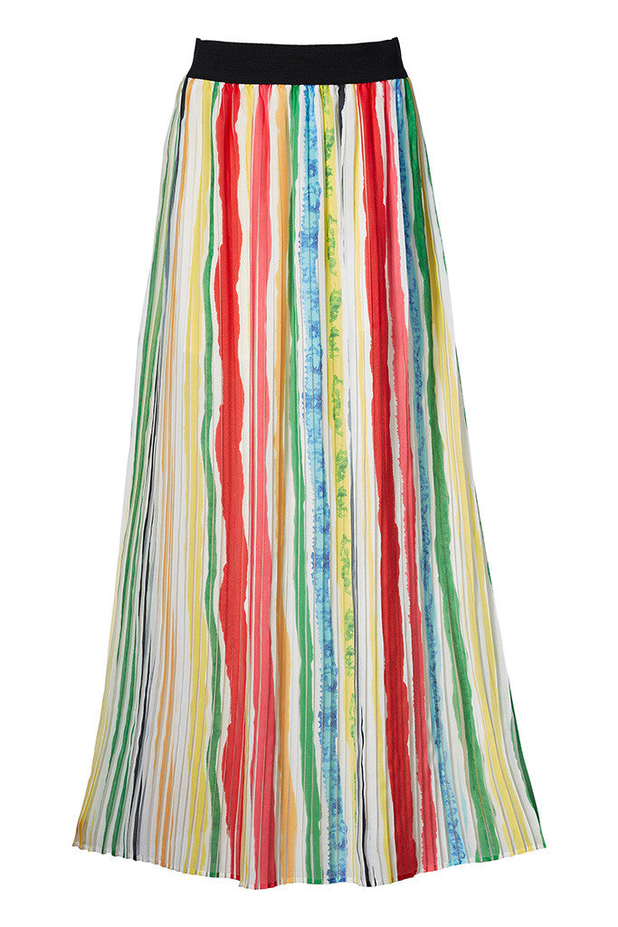 Color Strip Flowing print pleated maxi skirt
