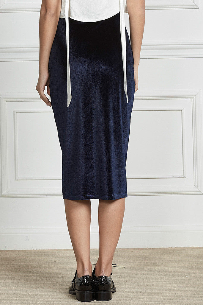 Navy velvet and stretch-cady pencil skirt