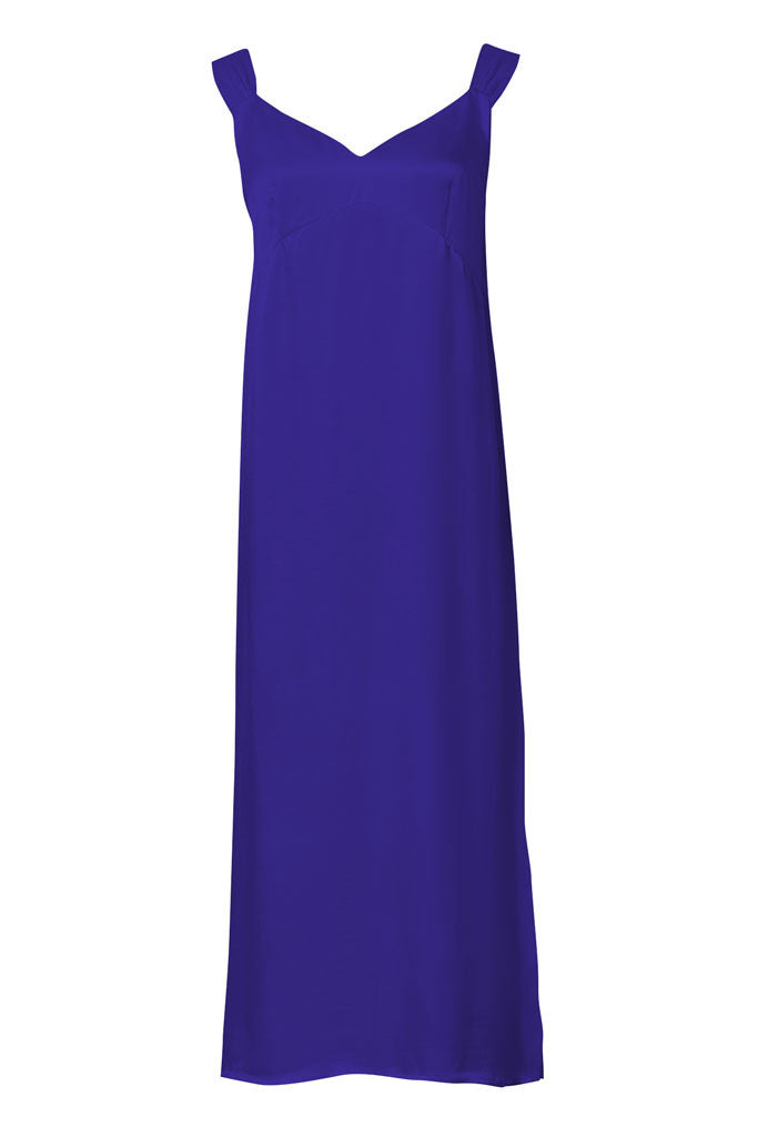 Blue Satin-crepe slip dress with tie-knot straps
