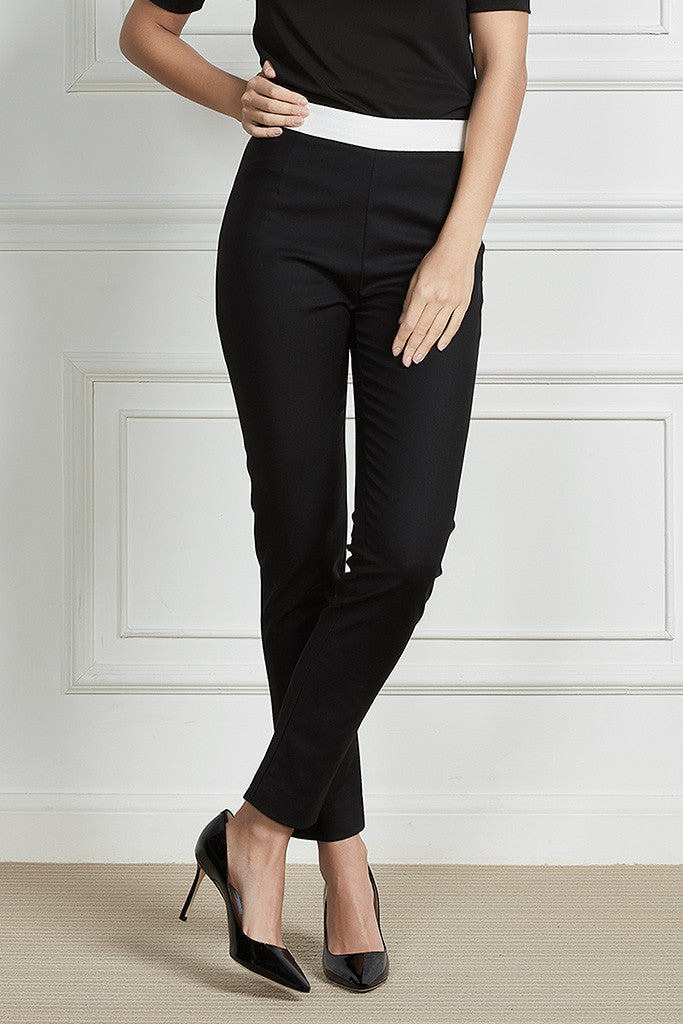 Black Stretch-cotton slim-leg pants
