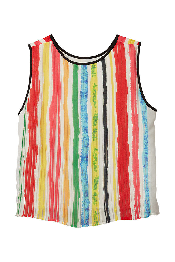 Color Stripe Print Pleated Sleeveless Flowing Top