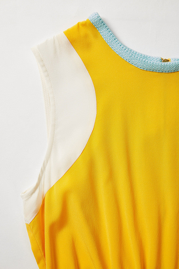 Yellow 100% Silk summer flowing midi dress