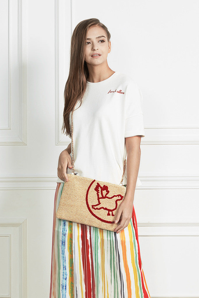Raffia with embroidery gold chain shoulder bag