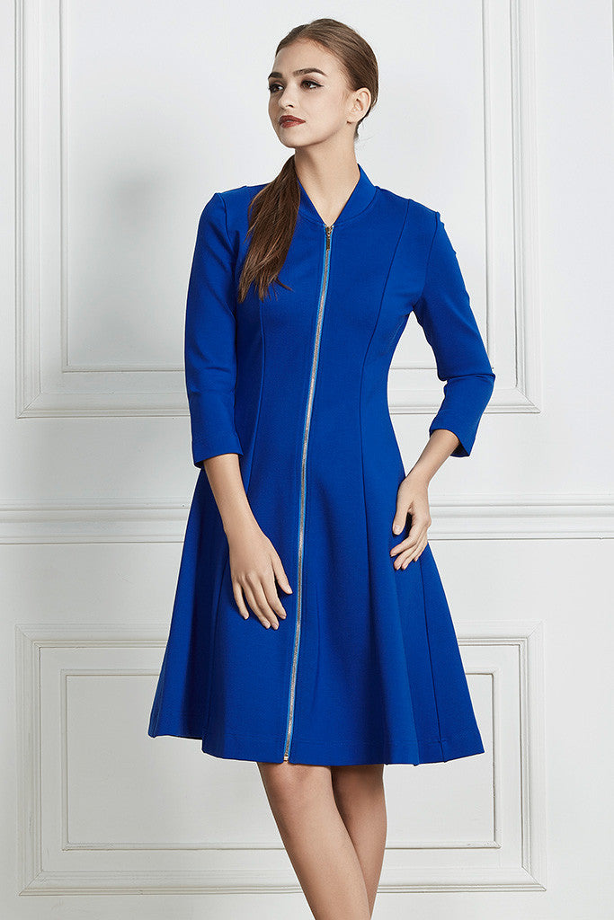 Blue Stretch-cotton structured midi dress