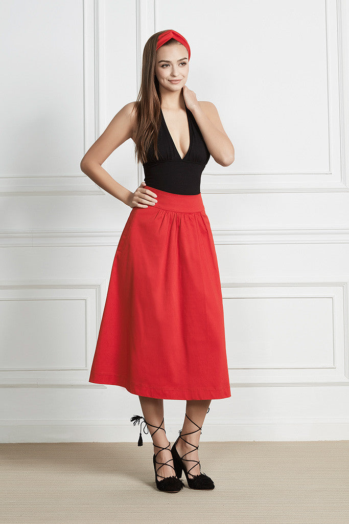 Cotton-satin retro midi skirt