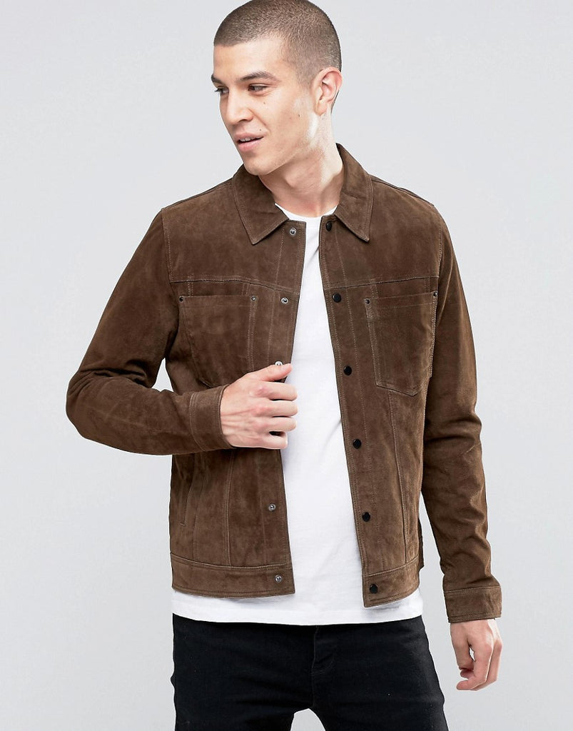 Leather jacket new look - Genuine New Look Suede Western Jacket With Collar In Brown Leather Jacket For Men