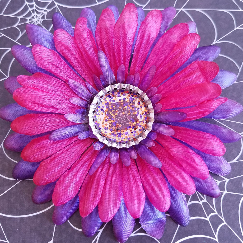 Hair Flower Clip Purple And Hot Pink Spiderweb Kitschy Cat Lady