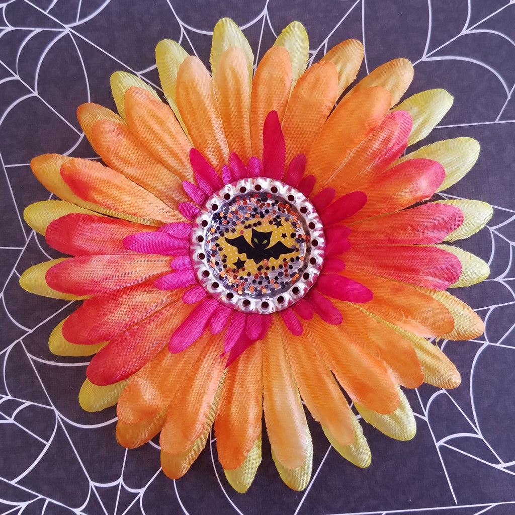 Flower Hair Clip Orange Yellow And Pink Flower Bat Kitschy