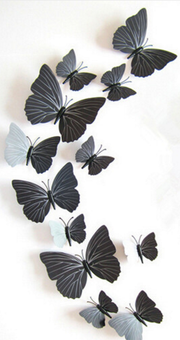 12pcs PVC 3d Butterfly wall decor cute Butterflies wall stickers ...