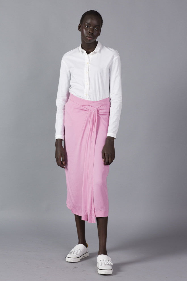 Rose viscose skirt