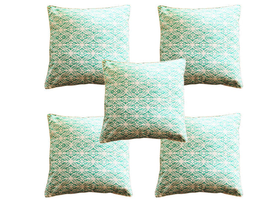 Mint and white striped cushion covers