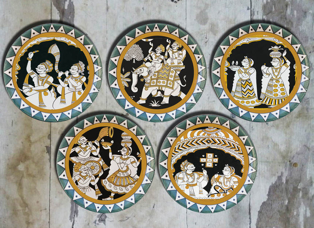 Rajasthani Phad Art Ceramic Wall Plate Set of 5