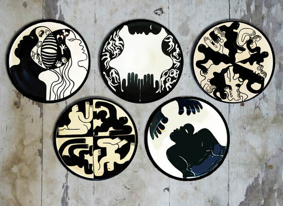 Handpainted Abstract Design Ceramic Wall Plate