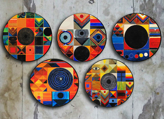 Abstract Tantric Art Ceramic Wall Plate Set of 5
