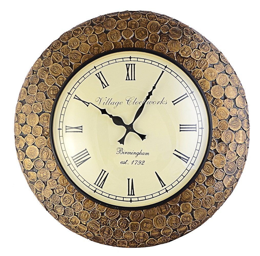 Bronze Vintage Coin  Wall Clock