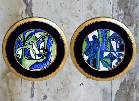 Abstract art Tunisian ceramic wall plate