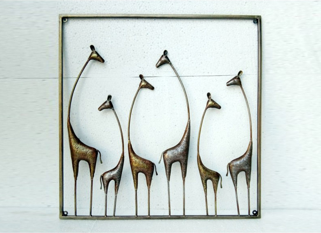 Rusted Golden n Silver Giraffe Wall Decor