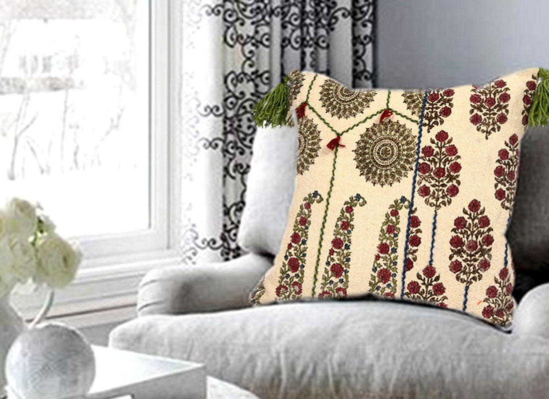 Green Tassels Mughal Paisley Print Cushion Cover