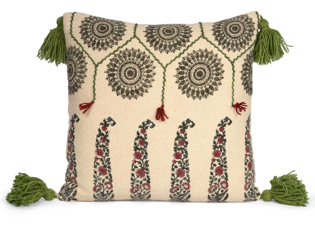 Ethnic Mughal Paisley Print Cushion Cover