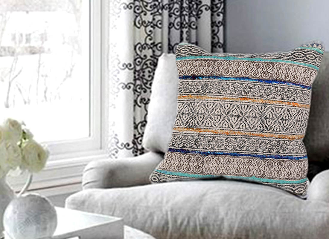 Hand-Printed Cho-Cho Stripe Cushion Cover