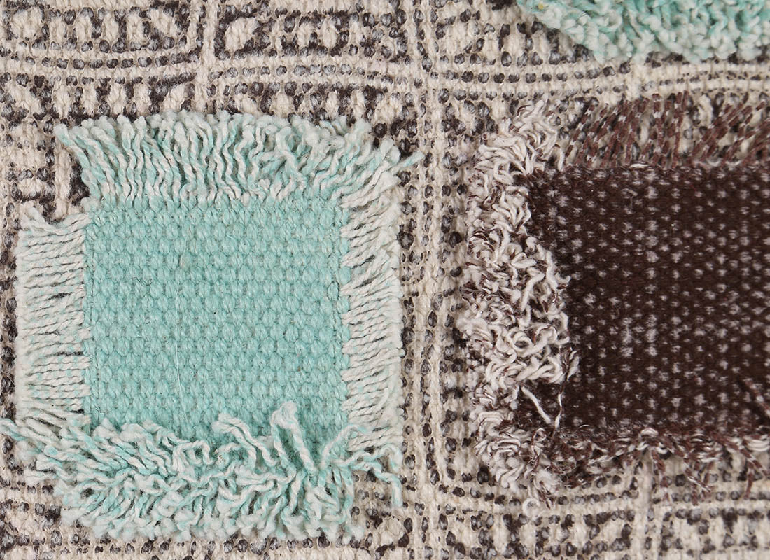Teal - Brown Patchwork Cushion Cover