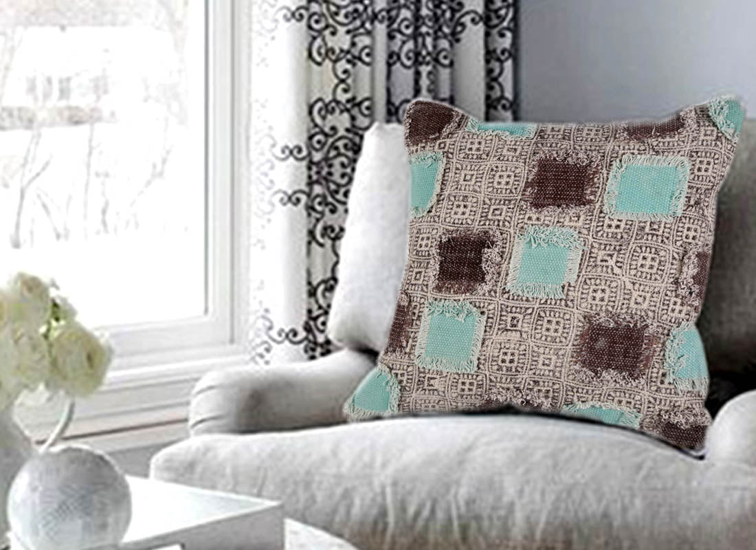 Designer Teal - Brown Patchwork Cushion Cover