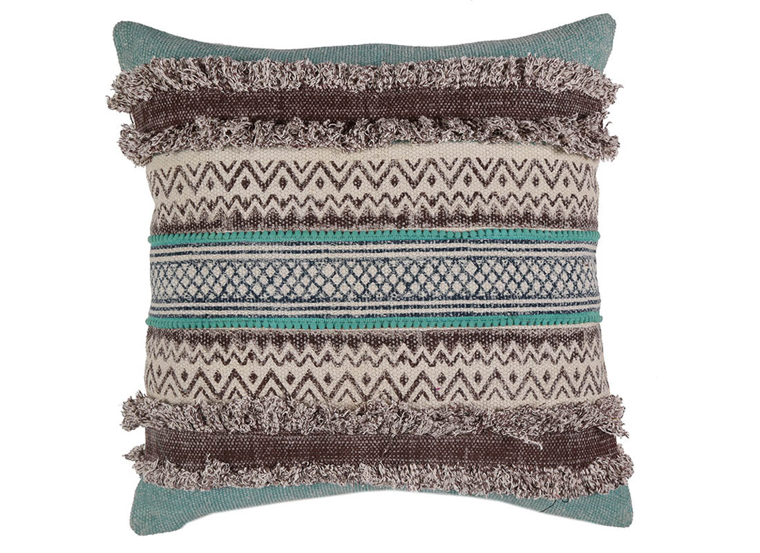Colorful Stripe with Tassel Cushion Cover