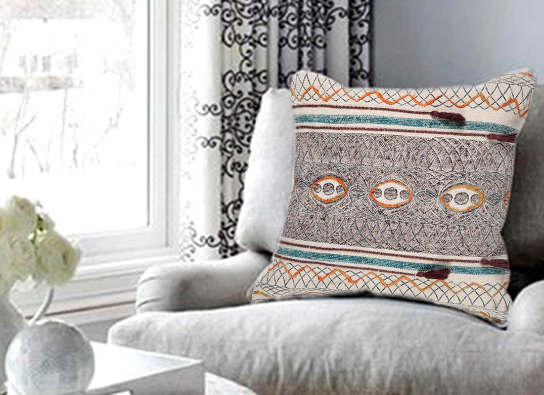 Bold Embroidered Classic Stripe Cushion Cover